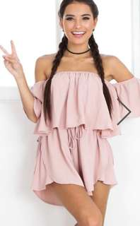 BNWT Showpo You Bring Me Joy Playsuit in Taupe