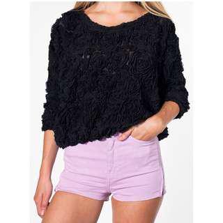 American apparel 3d floral mesh jumper
