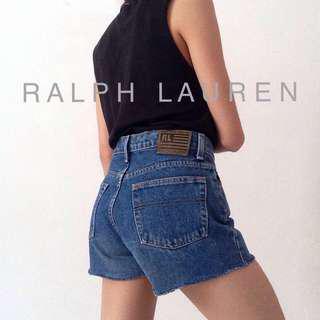 Ralph Lauren Denim Shorts High Waisted Blue Jeans Pants Polo