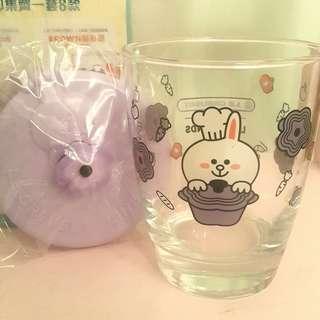 全新 只開盒拍照 7-11 LC Le Creuset for Line Friends Cony 紫色圓花形鍋 連蓋玻璃杯