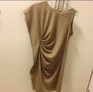 Nude beige Drape dress