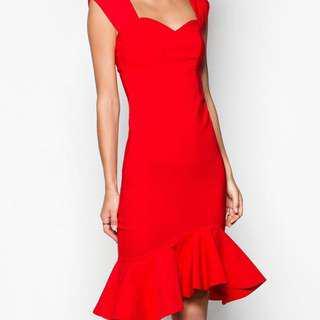 Goddiva Fishtail Dress in Red (Size 10)