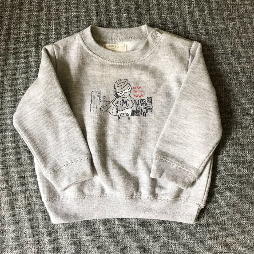 6212e77f6f50 3-6 months) Cute MANGO grey sweater
