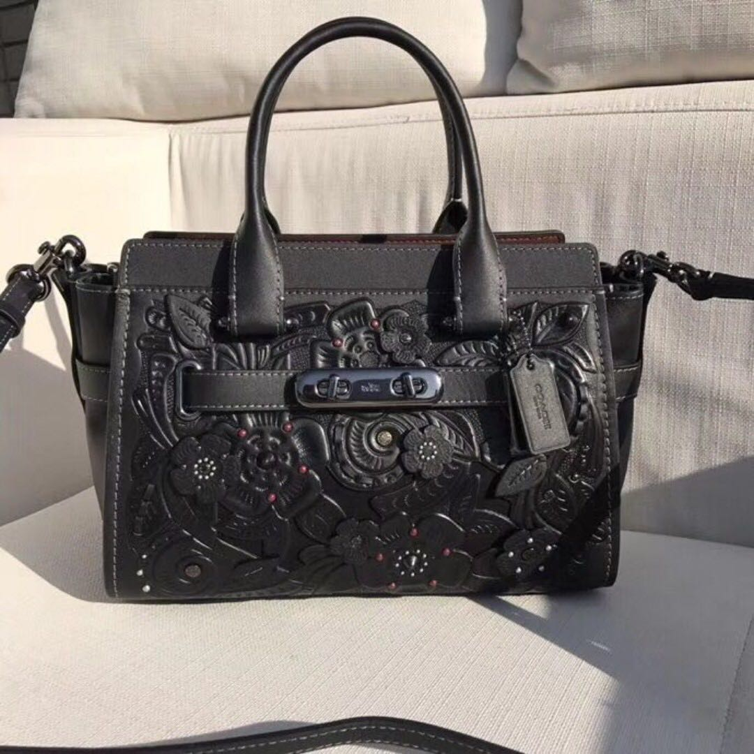 6bdc8adadff7d Authentic Coach 11854 Swagger 27 With Tea Rose Tooling Black   Dark ...