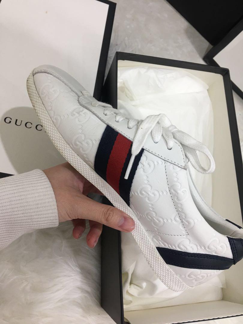 84346e3f0 Authentic Gucci Guccissima Leather Lace Up Sneaker, Women's Fashion ...