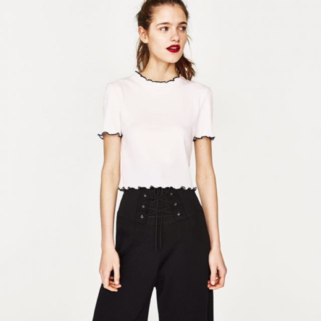 cbf7403eac409c AUTHENTIC ZARA White Ribbed Cropped Top, Women's Fashion, Clothes ...