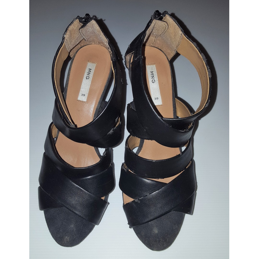 b8ec0ee511 Blessing MANGO Black Wedge Heels - EUR 39   UK 6   MEX 6   USA 8.5 ...
