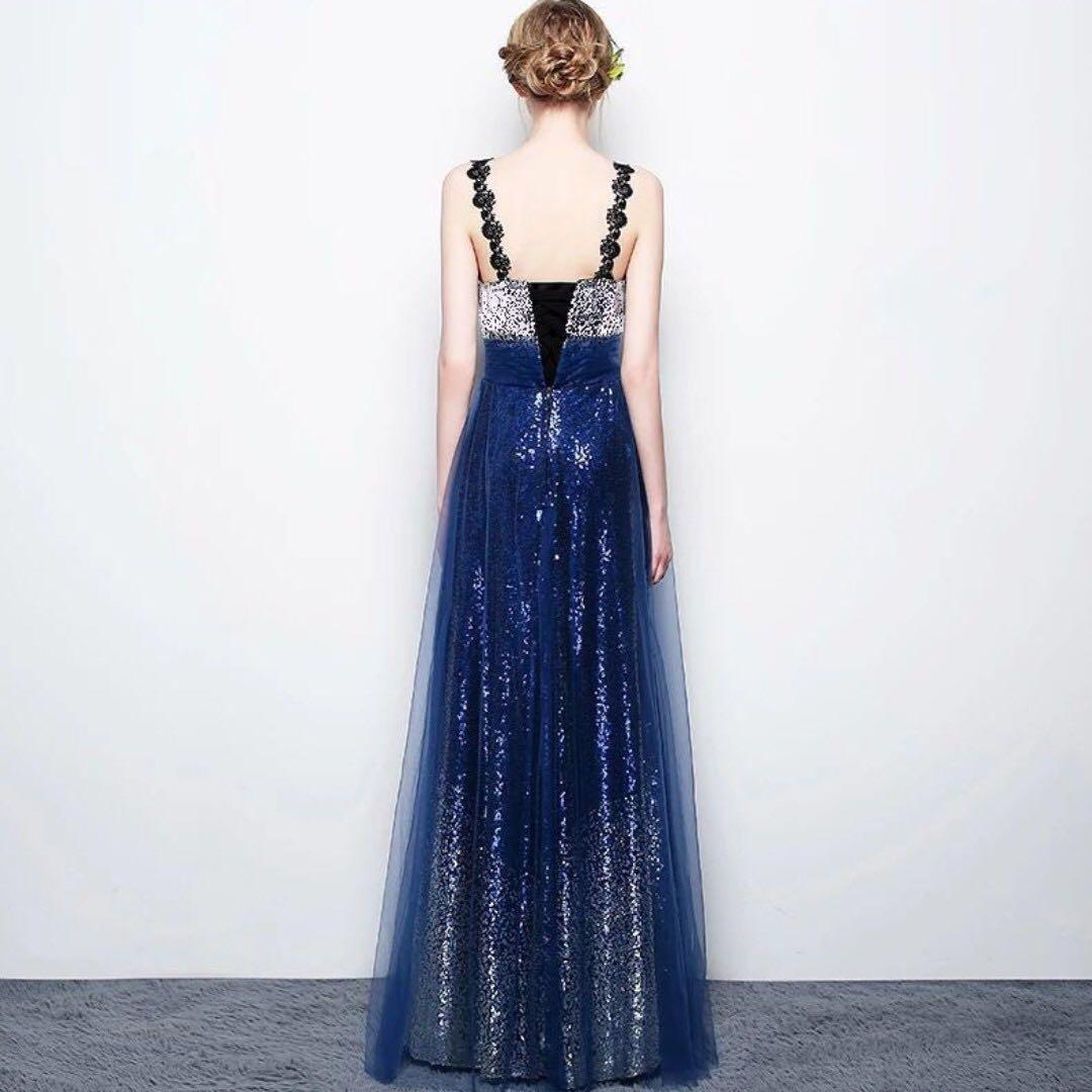 Blue Sequin Ombré Evening Gown/ Long Dinner Dress/ Maxi Dress/ Prom ...