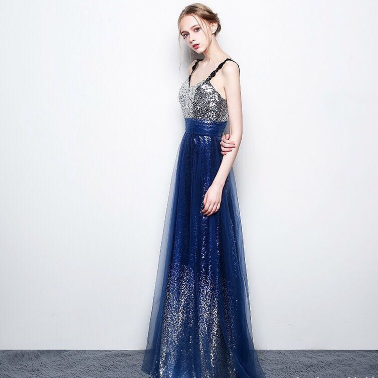 Blue Sequin Ombré Evening Gown/ Long Dinner Dress/ Maxi Dress/ Prom ...
