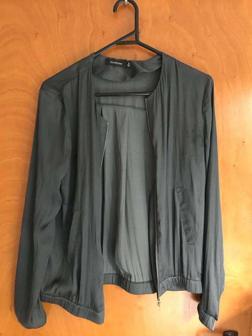 Blue silk bomber jacket