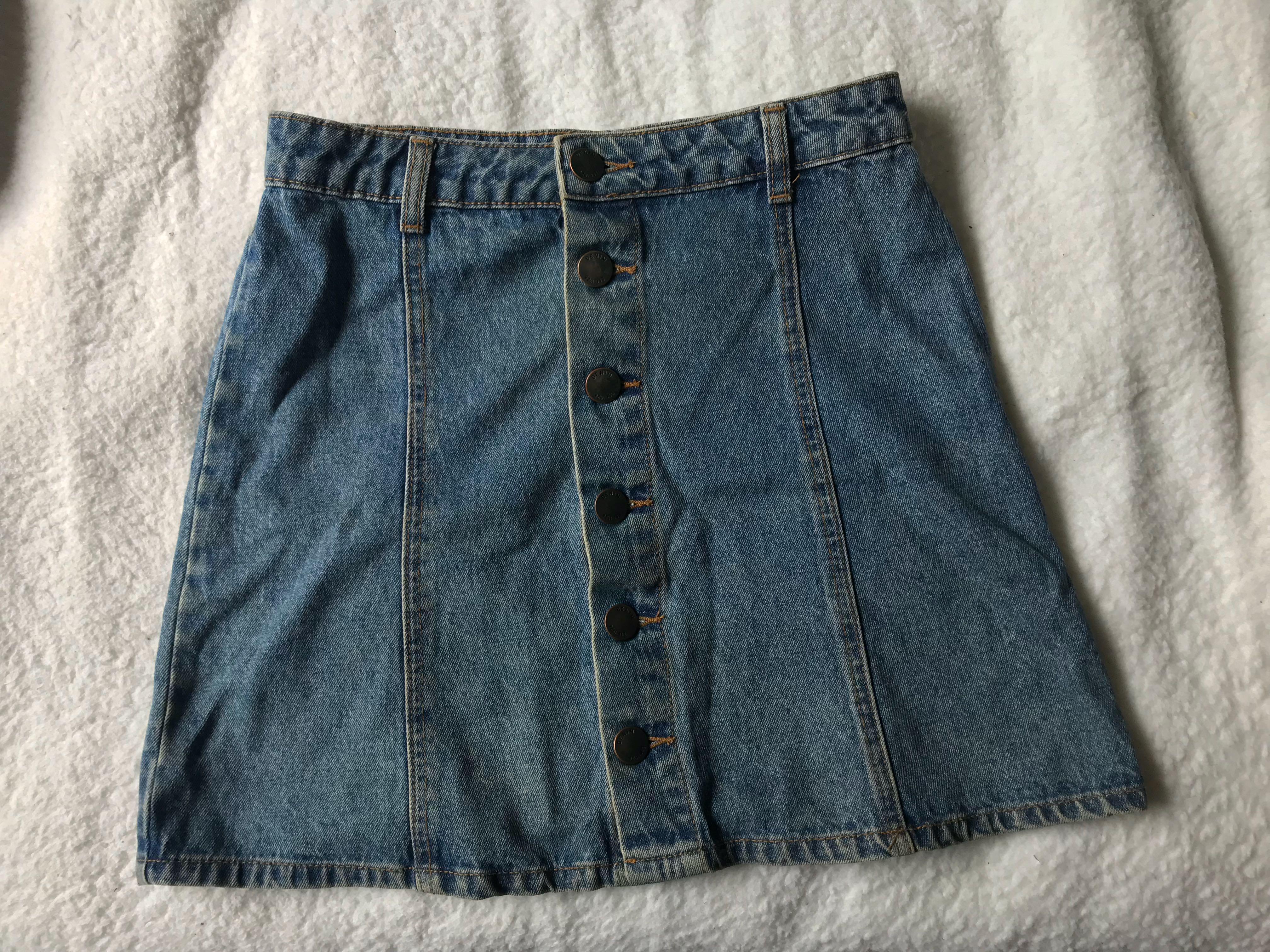 Button down vintage denim skirt
