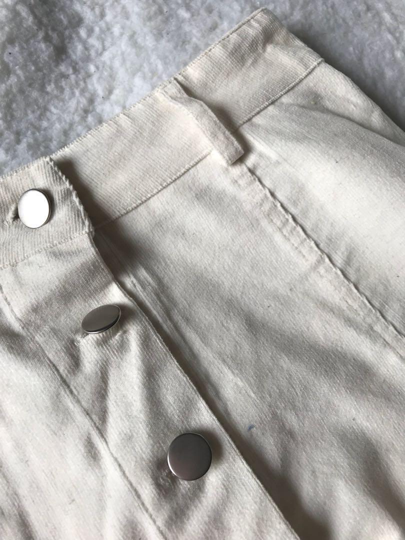 Button down white corduroy skirt