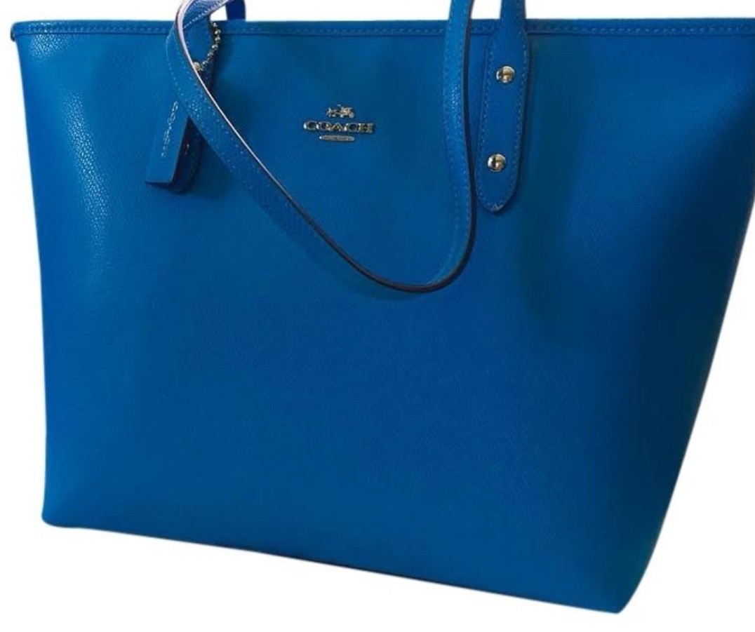 8de421db3f85 COACH CITY NEW ZIP IN CROSSGRAIN AZURE SILVER BLUE LEATHER TOTE BAG ...