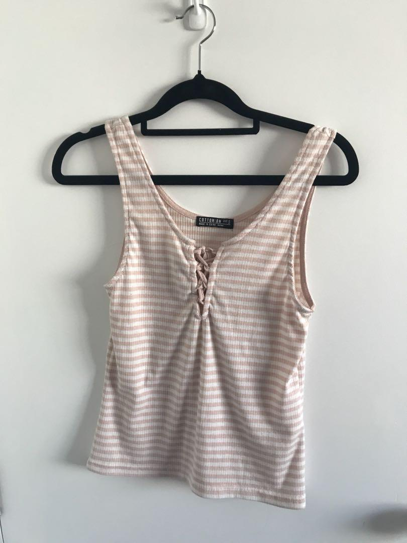 Cotton On Stripe Lace-Up Tank