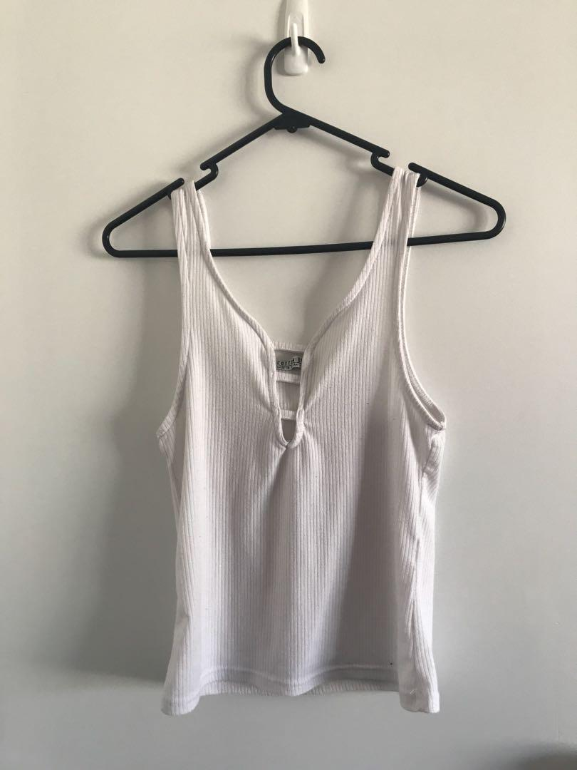 Cotton On White Ribbed Singlet