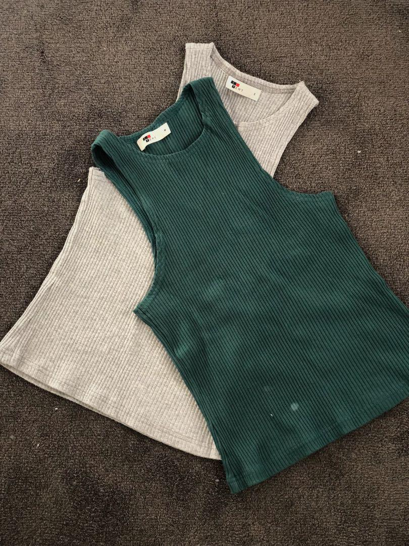Green and grey tops