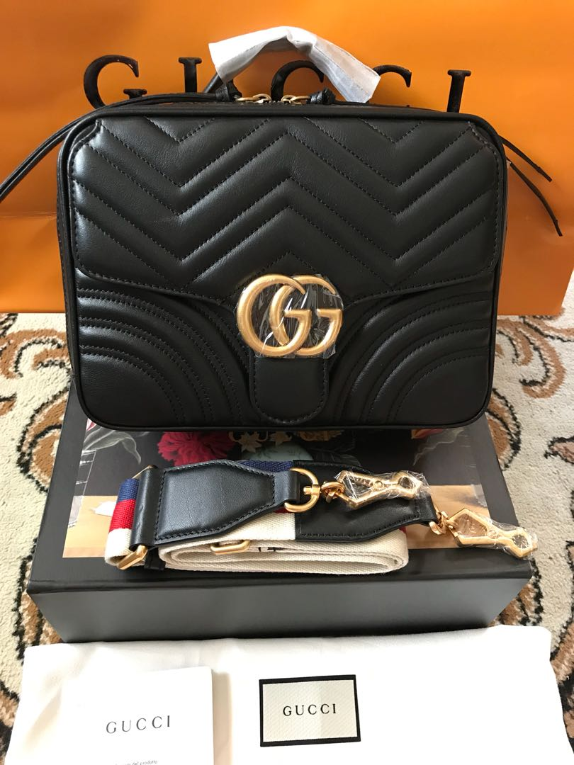 60af0429af88 Gucci Marmont Matelasse Top Handle Bag with Sling Strap, Women's Fashion,  Bags & Wallets on Carousell