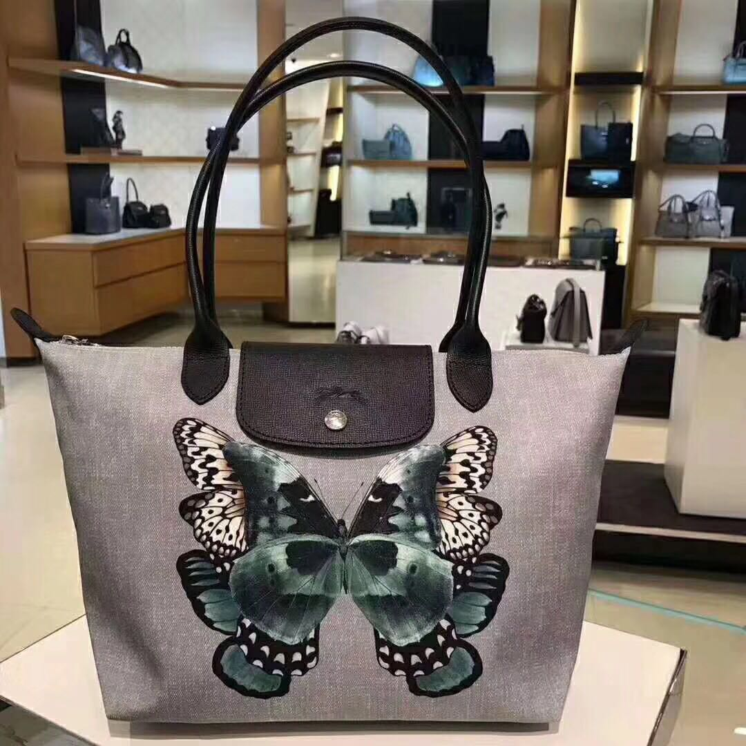 ... online store 630ac 65479 Longchamp Bag 2605 medium size long handle  tote bag butterfly 6f2a9e1884046