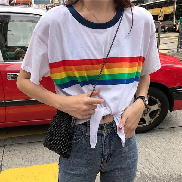 aa1a79738d29 PO  korean rainbow ringer knot tee
