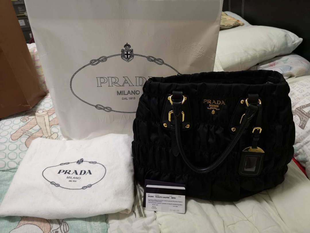 11ff84b79c104b Prada BN2805 Nero Tessuto Gaufre, Luxury, Bags & Wallets, Handbags ...