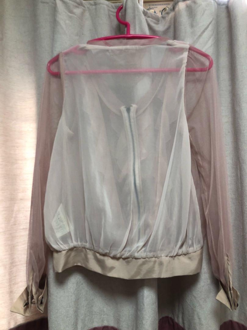 淡粉紅,see through, 恤衫款 ruffles top