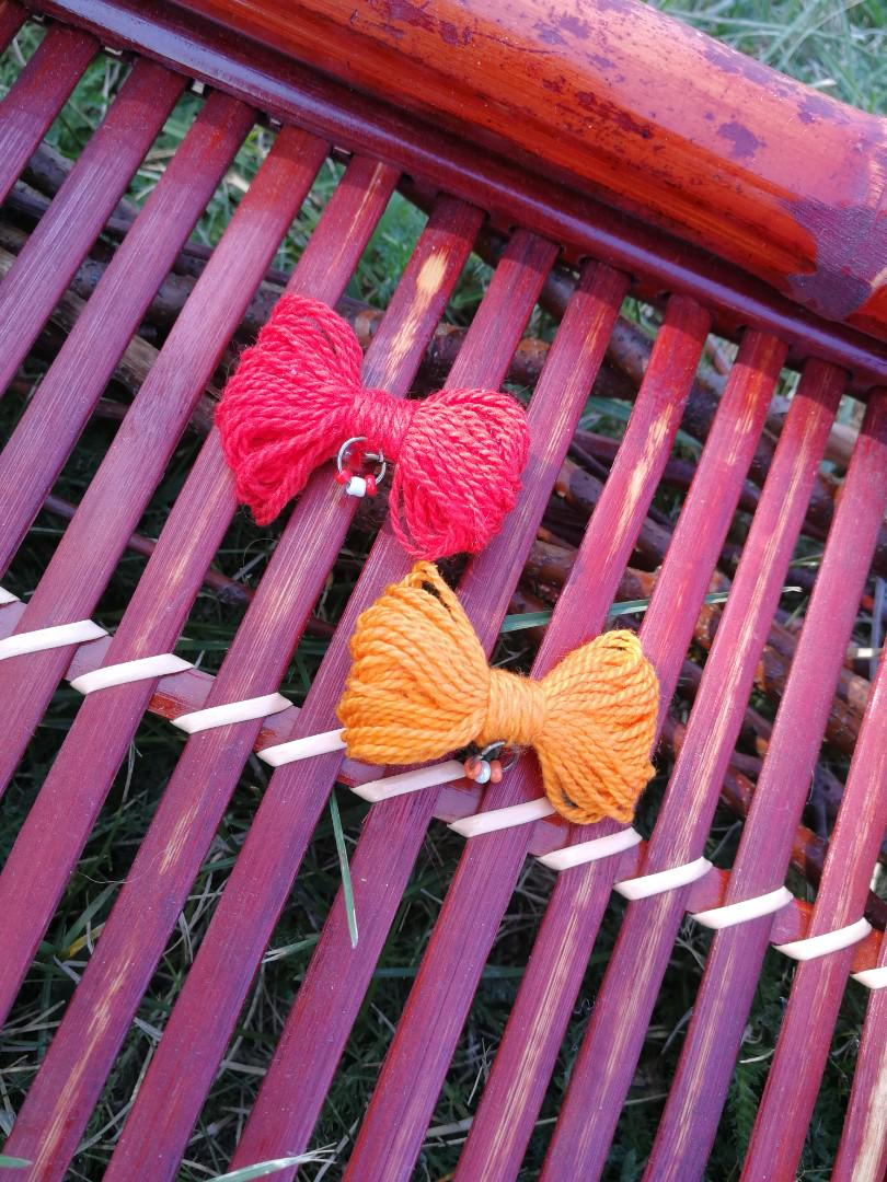 Set of Two Red and Orange Bow Hairclips