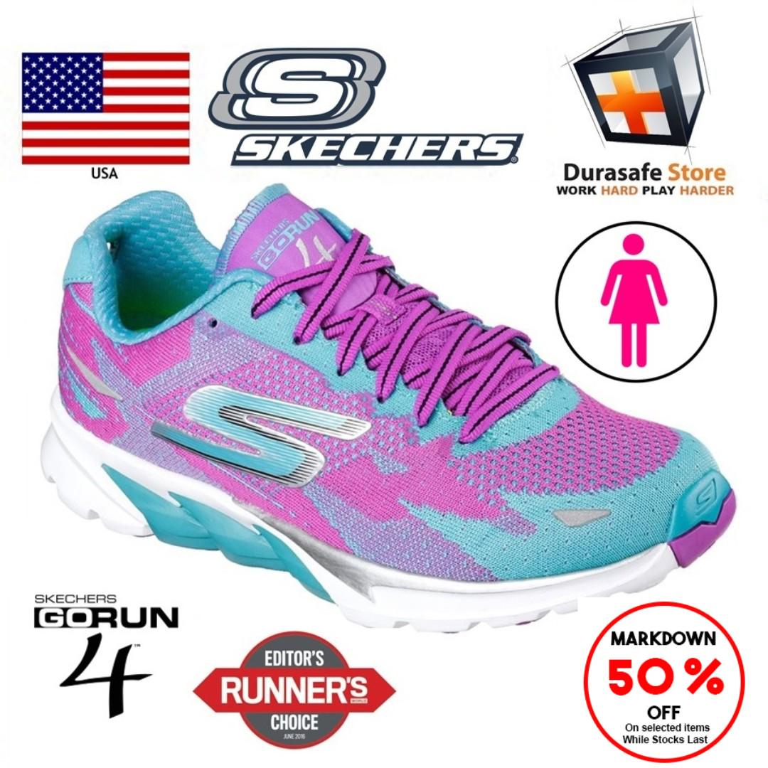 consumo Lima parcialidad  SKECHERS 13996 GO Run 4 Women Shoe Purple/Teal, Sports, Sports Apparel on  Carousell