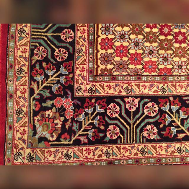 Vintage Silk Qum (Qom, Quom, Qoom) signed hand knotted Iranian rug.