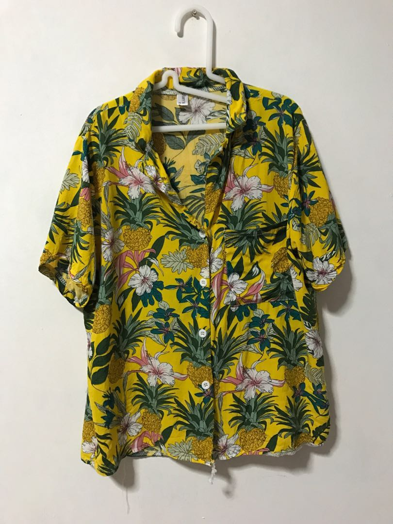 5417c6f6 Vintage Streetwear Pineapple Yellow Tropical Floral Button Up Shirt Tee Top  Outerwear Jacket, Women's Fashion, Clothes, Tops on Carousell