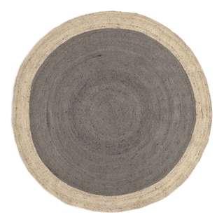 "[NEW] - ""WEST ELM"" Large Bordered Round Jute Rug - Platinum"