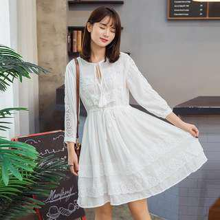 Korean White Dress lace pretty beautiful skirt high waist #mcsfashion