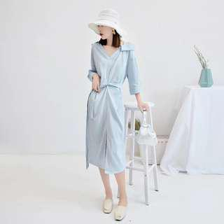 Korean Blue wrap dress chiffon long off shoulder one sided shift dress midi long skirt #mcsfashion