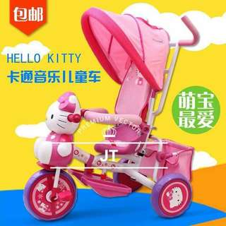 Hello Kitty 4 in 1 Stroller Bike with Music & Rubber Wheels