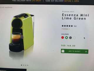Nespresso Essenza mini green. (brand new).
