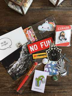 Pins, Stickers, Postcards