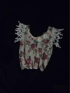 Handmade Flutter Lace Appliqué Floral Painted Weave Net Blouse With Clear Sequins - Jardin de Fleurs Romantic Deep Bateau Top With Stitched Fabric  Brooch