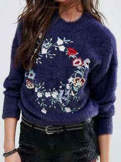 Pull&bear Embroidered Fluffy Jumper