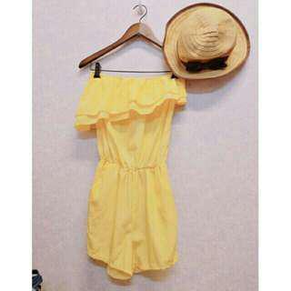 🚚 夏日清爽檸檬黃亮黃色荷葉抹胸雪紡平口連身褲連體褲