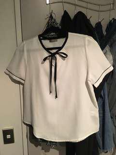 White chiffon blouse with ribbon