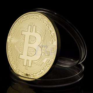 Gold Plated Bitcoin Miniatur Coin