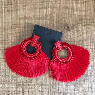 Hot red tasselled earrings