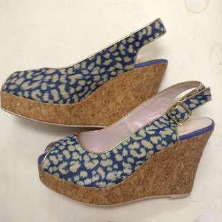 Blue wedge shoes
