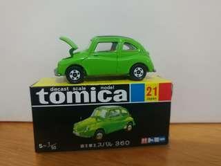 全新絕版tomica 黑黃盒 富士工業 subaru 360