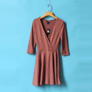 🚚 INSTOCK | Rust Overlap Knit Dress