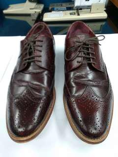 ASOS Brogue formal shoes in Burgundy Brown Leather with Natural Sole