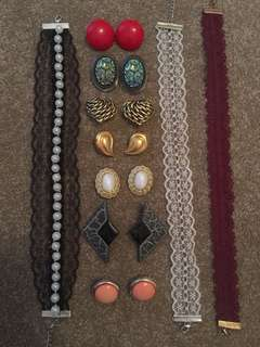 7 Pairs Vintage Clip On Earrings + 3 Lace Chokers