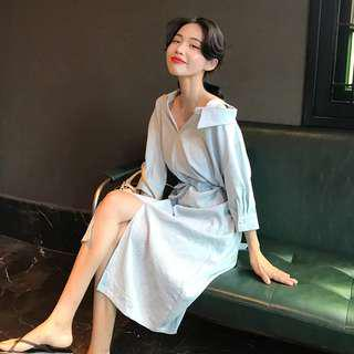 Blue wrap dress midi dress korean style sexy off shoulder strap dress collar #mcsfashion