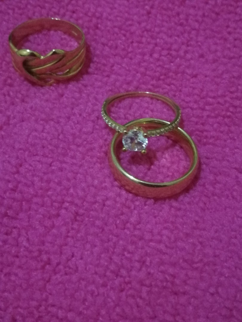 100% Authentic 18K Saudi Gold Wedding & Engagement Ring, Preloved ...