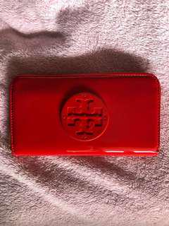 Authentic Tory Burch Stacked Patent Zip Continental Wallet