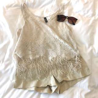 H&M Ivory Lace and Fringe Cover-Up